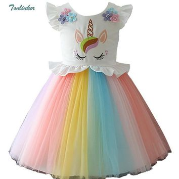 Cool Girls Unicorn Costume Dress Princess Flowers Rainbow Dresses up Child Cosplay Wedding Party Tutu Sleeveless Fancy Up 2-10 YearsAT_93_12