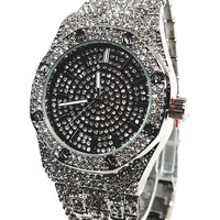 Techno Pave Silver Finish Iced Out Lab Diamond Iced Round Black Face Mens Watch Metal Iced Band Bling 8651 …