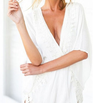 White Bell Sleeve V-Neck with Crochet Lace Accent Romper