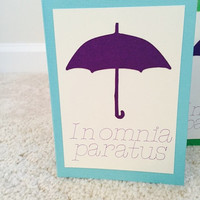 Gilmore Girls inspired note card; In Omnia Paratus; blank inside