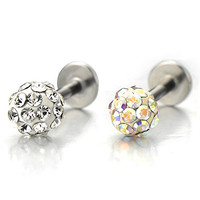 Steel Ball Lip Stud Ring with Rhinestones Piercing Labret Monroe Bar Chin Tragus Body Jewelry(white)