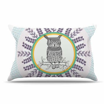 "Famenxt ""Owl"" White Purple Pillow Sham"