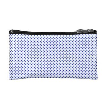Classic Blue Polka Dots on Custom White Cosmetics Bags