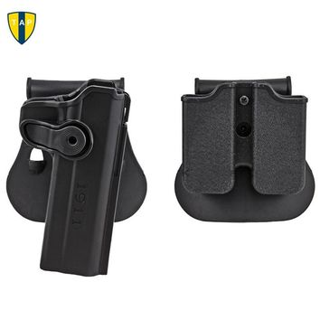 Military Army 1911 Gun Holster Polymer Retention Roto Holster and Double Magazine Holster Fits For 1911 Style Airsoft Tactical