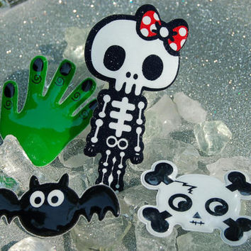4 pc. Monster Skull Bat Skeleton Hair Clips Harajuku Fairy Kei Kawaii Sweet Lolita Kandi Raver Rave EDC Halloween Horror Frankenstein Pins