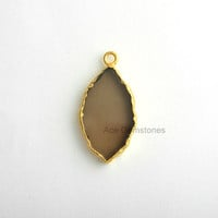 Handmade Smoky Quartz Slice Bezel Station Micron Gold Plated Sterling Silver Bezel Connector and Charm, 1 piece