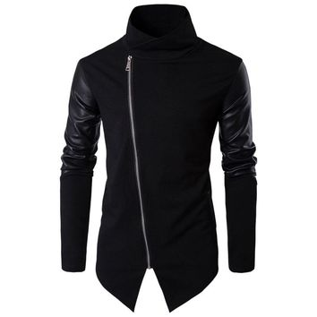2017 Men Hooded Sweatshirts with Leather Patchwork Hip Hop Mantle Hoodies Fashion Outwear long Sleeves Asymmetrical Mans Outwear