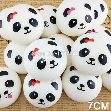 1PCS 7cm Panda Squishy Collectibles Kawaii Buns Bread Food Toy Pendant