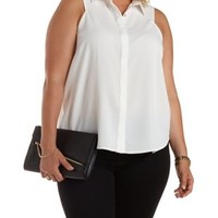Plus Size Ivory Racer Front Button-Up Top by Charlotte Russe