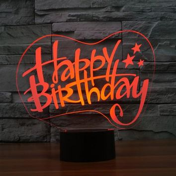Happy Birthday 3D LED Night Light Lamp