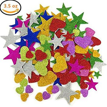 Koogel 3.5 Ounce Foam Glitter Stickers Self-Adhesive Foam Stickers, Star, Mini Heart Shape for Kid's Arts Craft Supplies Greeting Cards Home Decoration