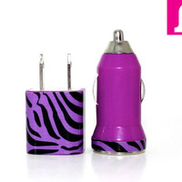 CUSTOM ORDER Purple & Black Zebra Print iPhone Car Charger and Wall Adapter - Compatible with iPhone 5