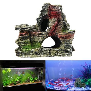 Improve the Authenticity of Your Aquarium With the Delicately Crafted Mountain View Resin Ornament