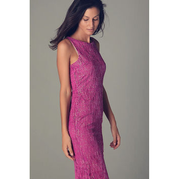 Fuchsia maxi dress with textured sparkle effect
