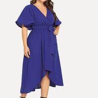 Plus Bell Sleeve Surplice Wrap Solid Dress