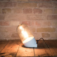 Original diagonal GDR industrial bell lamp small with wiring, vintage factory lamp