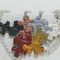 Friendship Puzzle Pieces 7 Necklaces Metallic colors Set of 7 necklaces