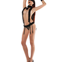 Roleplay Lace Suspender PlaySuit Neck Collar Gartered Panty Lace Eye Mask Black