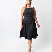 Preorder - Iconic by UV Plus Size Black Studded Brocade Audrey Swing Dress