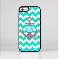 The Teal Green and Gray Monogram Anchor on Teal Chevron Skin-Sert Case for the Apple iPhone 5c