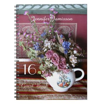 16th Birthday Party Guest Book, Vintage Teapot Notebook