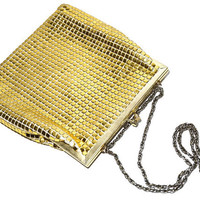 Gold Evening Bag,ARTEL Purse,Made in Hong Kong,Vintage Evening Bag,Mesh Evening Bag,Metalic Bag,Converts to Clutch,Chain Strap,Party Bag
