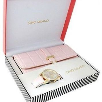 Women's Blush Pink Wallet With Matching Watch Gift Set