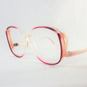 Womens Pink Eyeglasses, Make into Sunglasses, Bright & Light Pink Huge Frames, Big Vintage Round Sophia Loren Glam Glasses