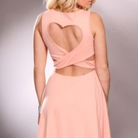 Peach V Neck Spike Decor Back Heart Design Party Dress @ Amiclubwear sexy dresses,sexy dress,prom dress,summer dress,spring dress,prom gowns,teens dresses,sexy party wear,women's cocktail dresses,ball dresses,sun dresses,trendy dresses,sweater dresses,tee