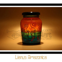 Lianus Amazonica - Hand Painted Storage Jar, Cranberry Canister, Art On Glass