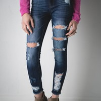 Becky Kan Can Destroyed Dark Wash Jeans