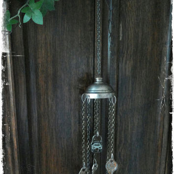 Handmade rusty junk keys and a lock wind chime