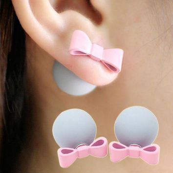 ac spbest Cute/Romantic Bowknot Ball Earrings Simulated Pearl Bow Tie Stud Earring Lovely Multicolor Aretes Double Side Jewelry Women Gift