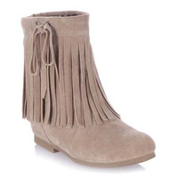 Apricot Short Boots With Fringe