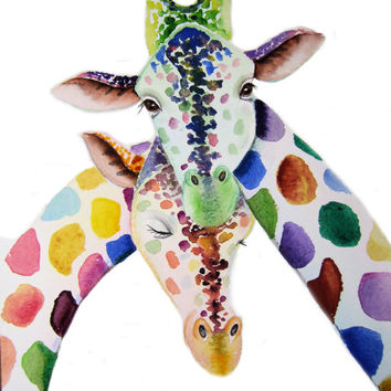GIRAFFES Art  Signed Print from an original watercolour painting by artist Maria Moss. Available in 4 sizes.