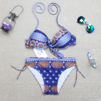 Women Ethnic Halter Bikini Set Swimwear Swimsuit Summer Bathing Suits