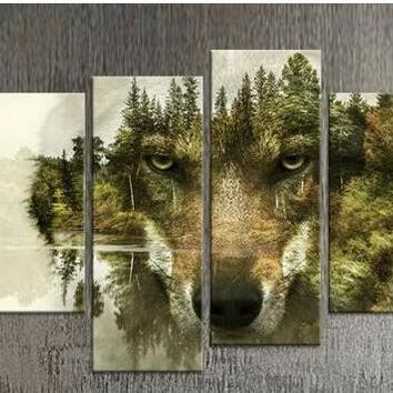 hot selling modern wolf designs wall art pictures  4 panels unframed canvas paintings home decoration paintings
