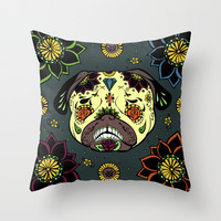 Calavera Paxicana Throw Pillow by Huebucket