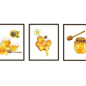 Printed Set of 3 Sweet Honey Watercolor Art Prints, Bees Honey and Flowers Wall Art Posters, 8 x 10 , Unframed