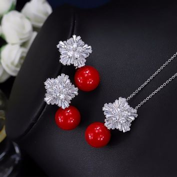 CWW  Cubic Zircon Flower Big Red Pearl Pendant Necklace And Earrings Set