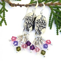 Flower Earrings, Pewter Purple Pink Green Swarovski Handmade Jewelry