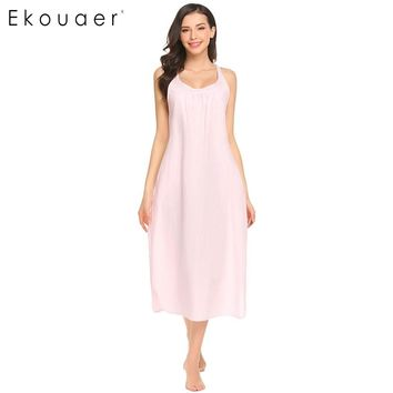 Ekouaer Arrival New Summer Night Dress Women Loose Sleeveless Cotton Nightgown Lounge Dress Nightdress Sleepwear Nightwear