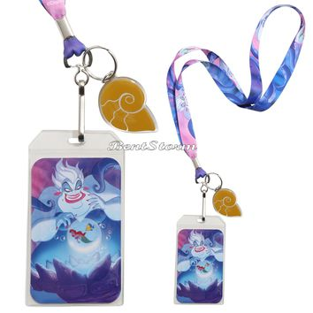 Licensed cool Disney The Little Mermaid Ariel URSULA Flounder ID Holder Lanyard W/ Shell Charm