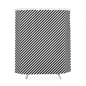 Black and White Striped Pattern Shower Curtains, Bathroom Shower Curtain, Minimal Pattern Design, Home Decor, Vintage shower curtain, Lines