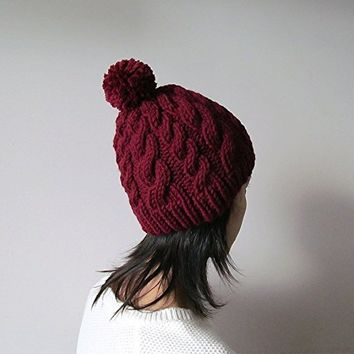 Hand Knitted Cable Chunky Beanie in Burgundy, Womens Pom Pom Hat, Marsala Hat with Pom Pom, Wool Blend, Winter Fall Accesories