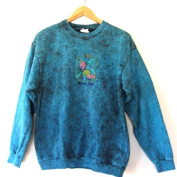 90s Seapunk Acid Wash Sweatshirt - Embroidered Madeira Beach Over-dyed Slouchy fit Top