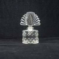 Vintage Clear Glass Perfume Bottle, Clear Glass Perfume Decanter