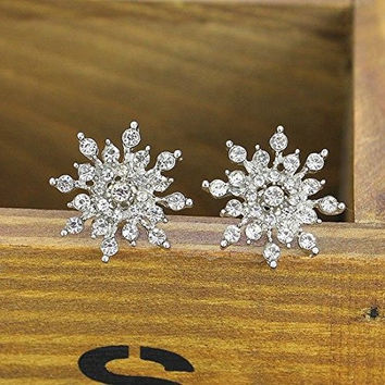 Basket Hill. Sparkling Crystal Snowflake Womens, Girls Post Earrings