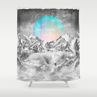 Put Your Thoughts To Sleep (Winter Moon / Wolf Spirit) Shower Curtain by Soaring Anchor Designs