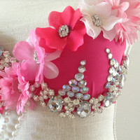 Diamonds and Flowers Bra with European Crystals